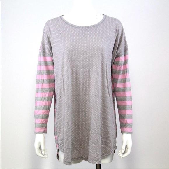 Victorias Secret Sleep Shirt L Gray Long Sleeve df252bf16